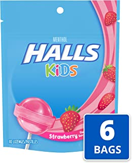 Halls Kids Strawberry Cough and Sore Throat Pops - for Children - 60 Pops (6 bags of 10 Pops)