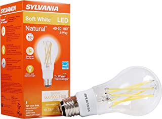 SYLVANIA LED A21 Natural Light Series Light Bulb, 3-Way Light, 6.5W/9W/13.5W, Not Dimmable, Clear Finish, Soft White 2700K...