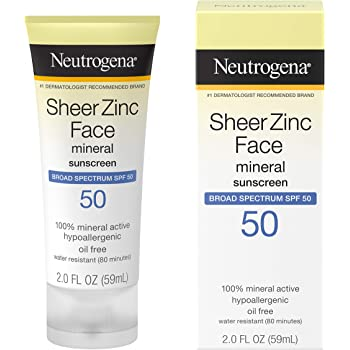 Neutrogena Sheer Zinc Oxide Dry-Touch Mineral Face Sunscreen Lotion with Broad Spectrum SPF 50, Oil-Free, Non-Comedogenic & Non-Greasy Zinc Oxide Facial Sunscreen, Hypoallergenic, 2 fl. oz