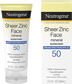 Neutrogena Sheer Zinc Oxide Dry-Touch Face Sunscreen with Broad Spectrum SPF 50, Oil-Free, Non-Comedogenic & Non-Greasy Mineral Sunscreen, 2 fl. oz