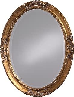 Howard Elliott Queen Ann Oval Hanging Wall Mirror, Beveled, Vanity, Antique Gold Leaf, 25 x 33 Inch