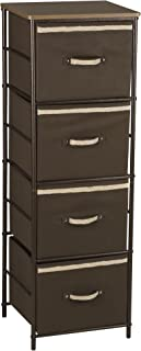 (4 shelves - 4 bins) - Household Essentials Hammered Storage Tower Unit with 4 Shelves and 4 Removable Brown Bins, Bronze ...