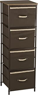 Household Essentials Drawer Tower Storage Unit | 4 Shelves and 4 Removable Brown Bins | Bronze Finish