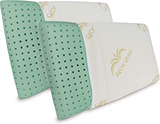 Baldiflex - 2 Cojines Memory Foam ecológicos Ecogreen, Alto 15 cm, Funda de Aloe Vera