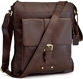 Style n Craft 392002 Tall Messenger Bag in Full Grain Leather in Dark Brown