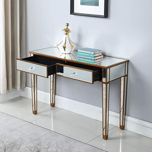Mirrored 2 Drawer Media Console Table GA Home Makeup Table Desk Vanity For Women Home Office Writing Desk Smooth Matte Silver Finish With Faux Crystal Knobs