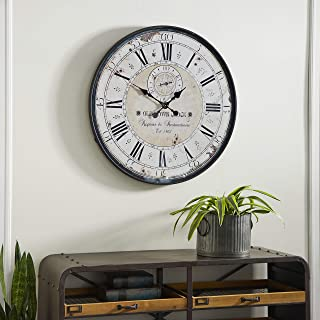 Deco 79 Round Rustic Black Iron & Wood Antique Roman Numeral Wall Clock, 32""