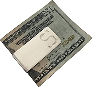 Men Initial Engraved Personalized Custom Silver Money Clip - Perfect Gift
