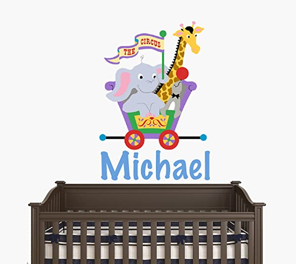 Custom Name Circus Train With Animals Giraffe Seal And Elephant Circus Theme Baby Boy Girl Wall Decal Nursery For Home Bedroom Children 15 Wide X 22 Height