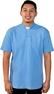 Mens Clergy Polo Short Sleeves TAB Shirt (Light Blue)