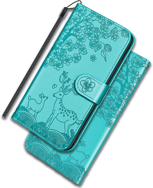 ONETHEFUL Xiaomi Mi 11 Lite 4G/5G Funda Cartera Carcasa Flip Cover Libro Case Fundas Venado Sika Protectoras de Piel Sintética para el Teléfono Xiaomi Mi 11 Lite 4G/5G Azul Claro