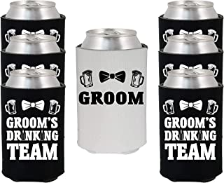 Shop4Ever Groom and Groom's Drinking Team with Bow Tie Can Coolie Wedding Drink Coolers Coolies (Blk, 6 Pk, Team)