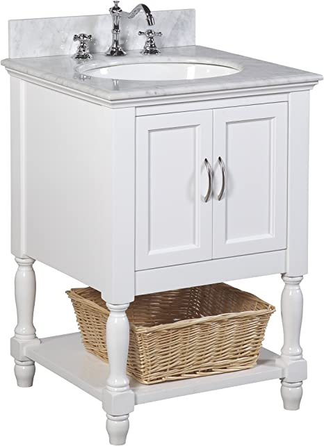 Amazon Com Beverly 24 Inch Bathroom Vanity Carrara White Includes White Cabinet With Authentic Italian Carrara Marble Countertop And White Ceramic Sink Home Improvement