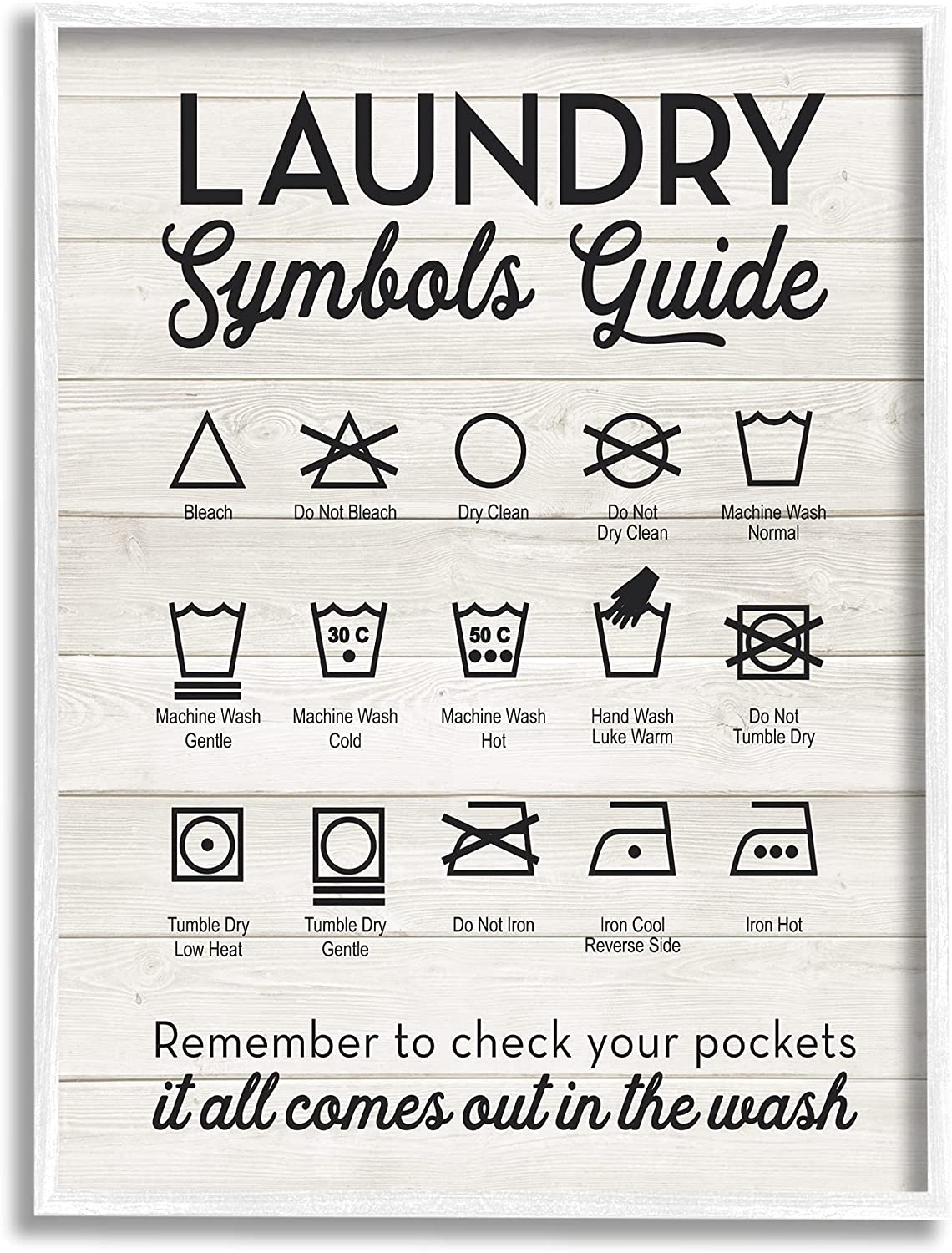 Stupell Japan's largest assortment Industries Laundry Symbols Guide Design Tampa Mall L Typography by
