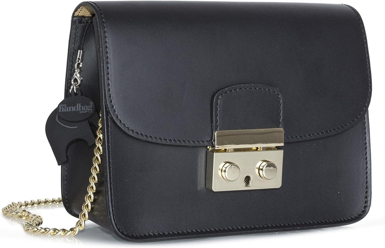 LiaTalia Italian Leather Womens Small Clutch Evening Wedding Handbag - Structured Purse with a Chain Strap (Black)