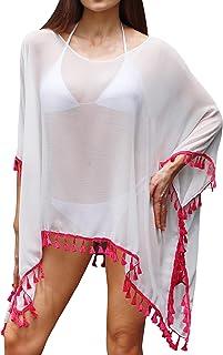 Soul Young Women's Plus Size Swimsuit Cover Up Beach Tassel Chiffon Pool Swimwear Dress for Summer