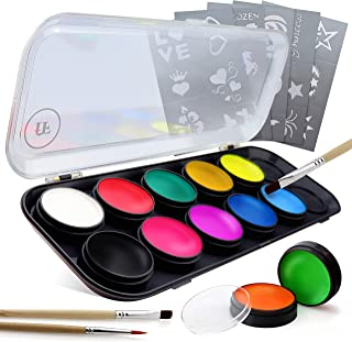 Face Paint Kit for Adults & Kids | 12 Extra-Large Professional Grade Colors by festiFACE | Includes 4 UV Black Light Neons, Stencils and Brushes in Gift Set