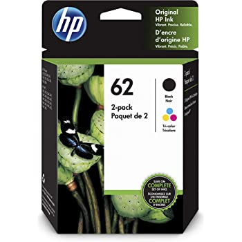 HP 62 | 2 Ink Cartridges | Black, Tri-color | C2P04AN, C2P06AN (N9H64FN)
