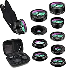 Phone Lens,TODI iPhone Lens 9 in 1 Wide Angle Lens,Macro Lens,Fisheye Lens,Telephoto Lens,CPL Lens, Kaleidoscope and Starburst Lens Compatible iPhone,Most Andriod Phones