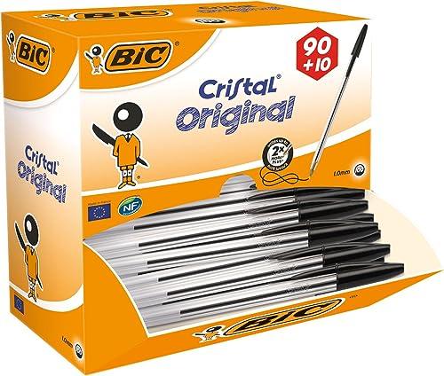 BIC Penne Nere a Sfera, Cristal Original, Punta Media, 1.00 mm, Confezione 90+10 Penne, Fornitura per Cancelleria Scu...