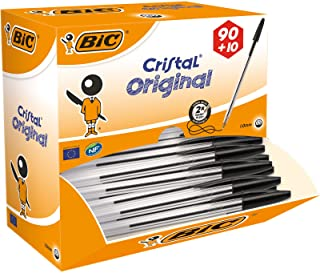 BIC Cristal Original Ballpoint Pens, Every-Day Biro Pen, Fine Point (1.0mm), Ideal for School, Green Ink, Pack of 100