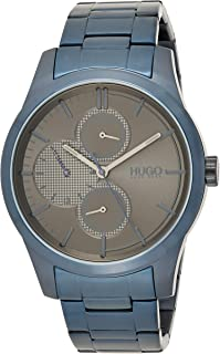 Hugo Boss Men'S Grey Dial Ionic Plated Blue Steel Watch - 1530086