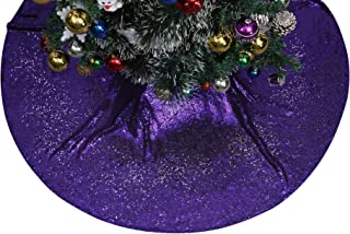Poise3EHome Tree Skirt, 48 inches Purple Sequin Christmas Tree Skirt