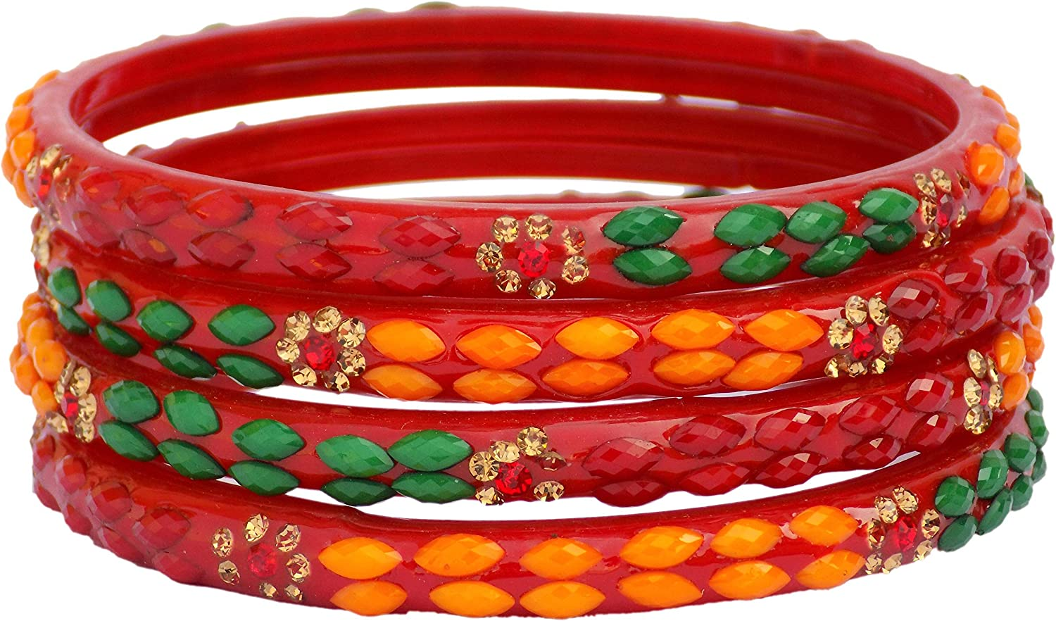 JD'Z Collection Indian Glass Bangles Jewelry Bangles Bracelet for Wedding,Party Bangles,Glass Bangles Set of 4 Multi