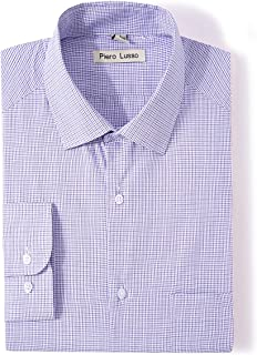 Men's Long Sleeve Slim Fit Casual Easy Care Button Down Spread Collar Dress Shirt