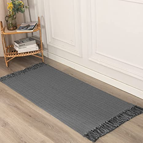 Amazon Com Boho Kitchen Rug Runner Bathroom Small Woven Farmhouse Rugs For Bath Bedroom Cotton Throw Washable Entryway Bohemian Mat Modern Fringe Accent Rustic Sink Floor Flat Carpet Indoor Outdoor 2 X4 3 Kitchen