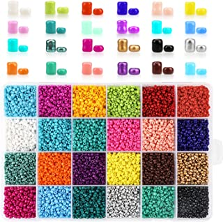 Phogary 14400pcs Glass Seed Beads, 24 Colors Small Pony Beads Assorted Kit Opaque Colors Lustered Loose Spacer Beads, 3mm Round, Hole 1.0mm for Jewelry Making, DIY Crafting