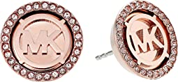 Michael Kors - MK Monogram Logo Pave Stud Earrings