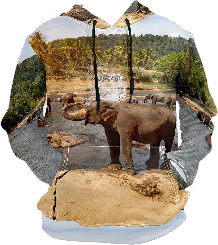 Men's Sport Hoodie Tropical Wild Elephant Animal Water Big and Tall Hoodies for Men Women Oversized Hooded Sweatshirt Hip Hop Pullover Hoodie Midweight Hood for Boys Girls