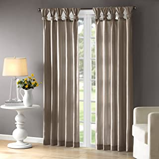 Madison Park Emilia Room-Darkening Curtain DIY Twist Tab Window Panel Black Out Drapes for Bedroom and Dorm, 50x84, Pewter