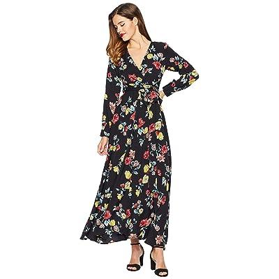 Unique Vintage Floral Long Sleeve Farrah Maxi Dress (Black/Floral) Women
