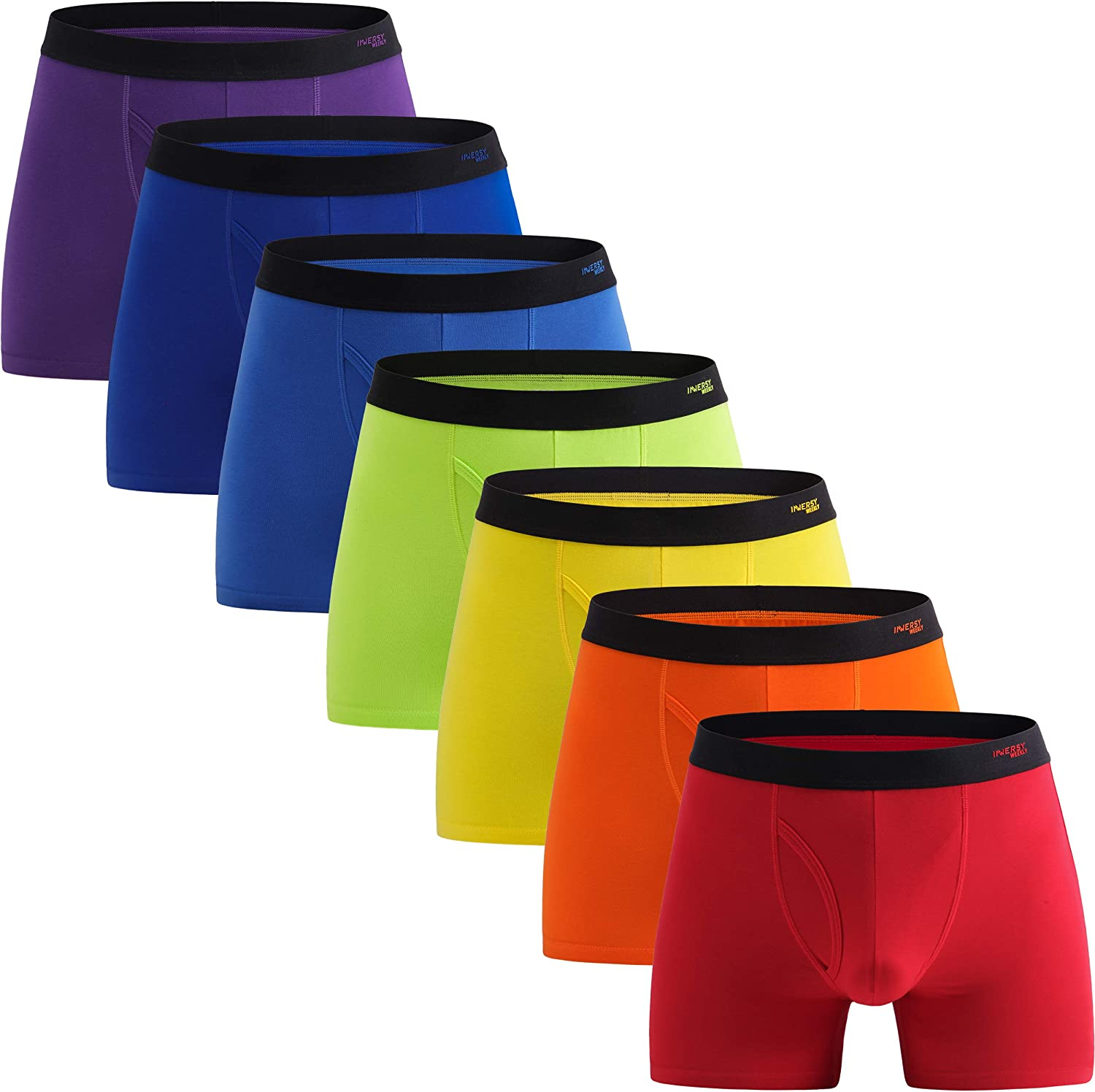 INNERSY Men's Cotton Boxer Briefs Underwear Regular Long with Pouch 7 Pack