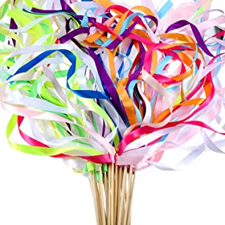 60 Pieces Mix Color Ribbon Wands Sticks with Bell Fairy Stick Party Streamers for Wedding Party