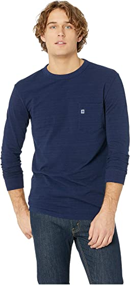 Core Pocket Indigo Round Neck Tee Long Sleeve