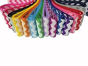 Pepperlonely Brand 15 Yards 7/8 Inch Chevron Printed Grosgrain Ribbon (15 Color, 1 Yard Each)