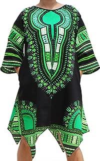 Brand Afrikan Dashiki Sac Dress Pointed Arrow Hem Pockets Black