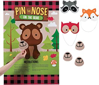 Fun Express - Woodland Party Pin The Nose On The Bear for Birthday - Toys - Games - Pin The & Bulls Eye Games - Birthday - 6 Pieces