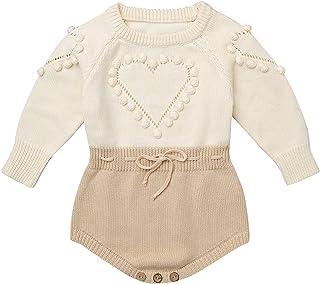 JEATHA Baby Mädchen Strampler aus Baumwolle Langarmbody Herzmuster Bodysuit Strickbody warme Pullover Unterwäsche Kinderkleidung