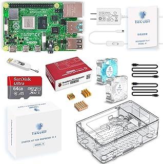 TRASKIT Raspberry Pi 4 Model B /ラズベリーパイ4B(8GB RAM)技適マーク付/MicroSDHCカード64GB NOOBSプリインストール/簡単に取り付けるケース/5.1V/3A Type-C スイッチ付電源...