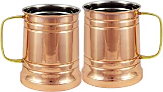 Set Of 2 Large Moscow Mule Copper Mugs, 20 Oz - Handmade of 100% Pure Copper, Brass Handle With Nickel Lined