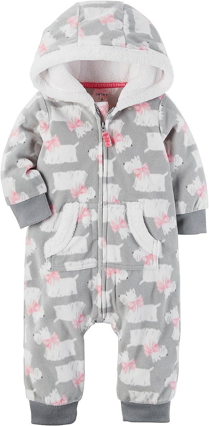 Carter/'s  Baby Girls/' Hooded Polka Dot Fleece Jumpsuit  Orig.$22.00  NB-18Months