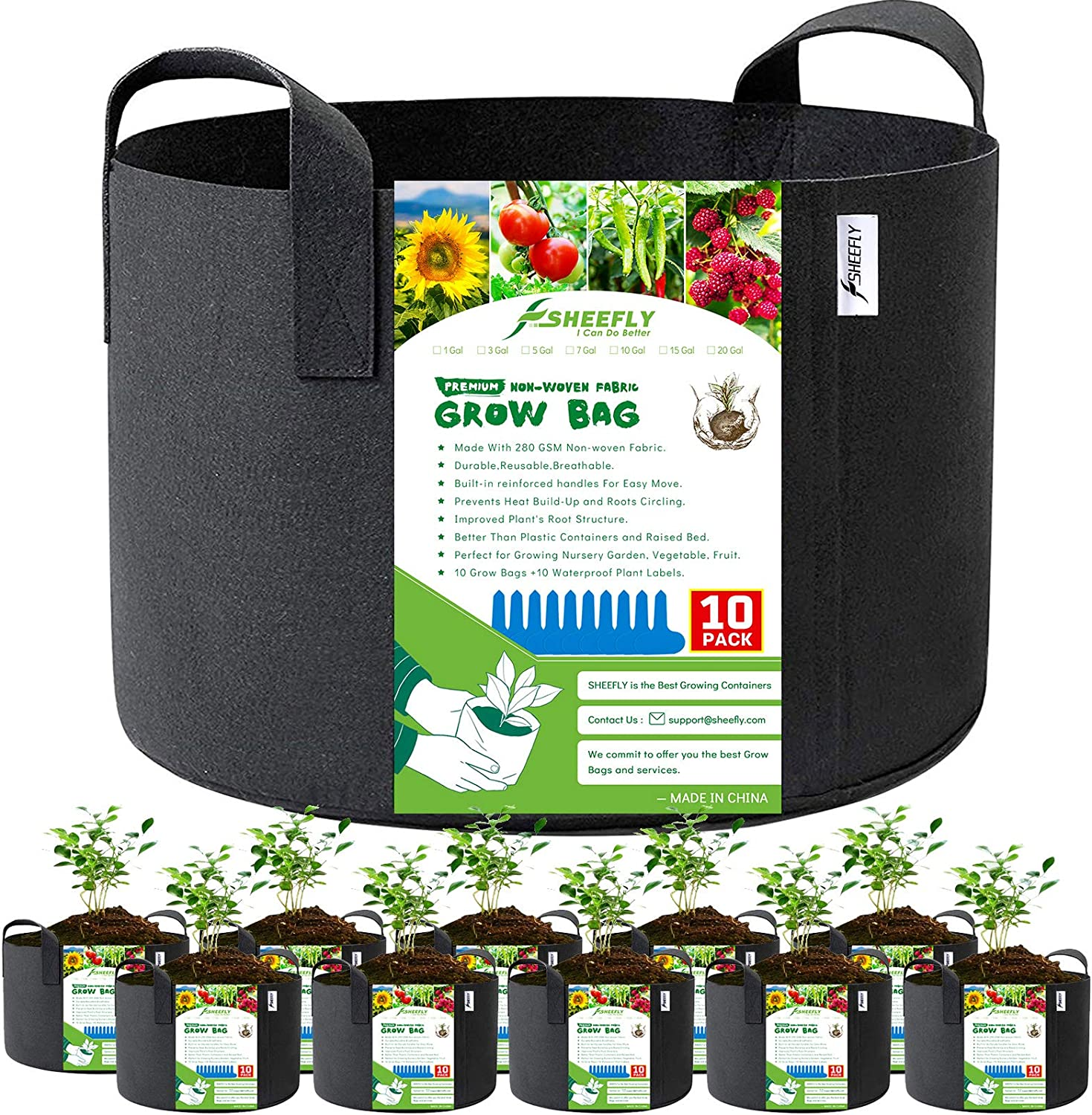 SHEEFLY 10 Pack Rapid rise Max 62% OFF Gallon Grow Durable Thickened Woven Non Bags