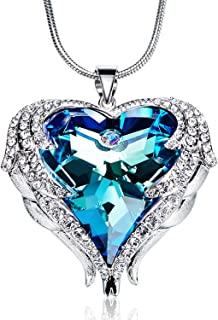 Heart Ocean Necklace Love Heart Pendant Necklaces for Lady Women Made with Swarovski Crystals Chain Length 17.7