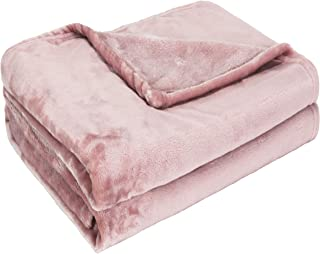 Exclusivo Mezcla 柔らかなフランネルフリースブランケット 軽量で保温のひざ掛け 超極細繊維 ポリエステルの毛布 (ピンク,160x200CM)