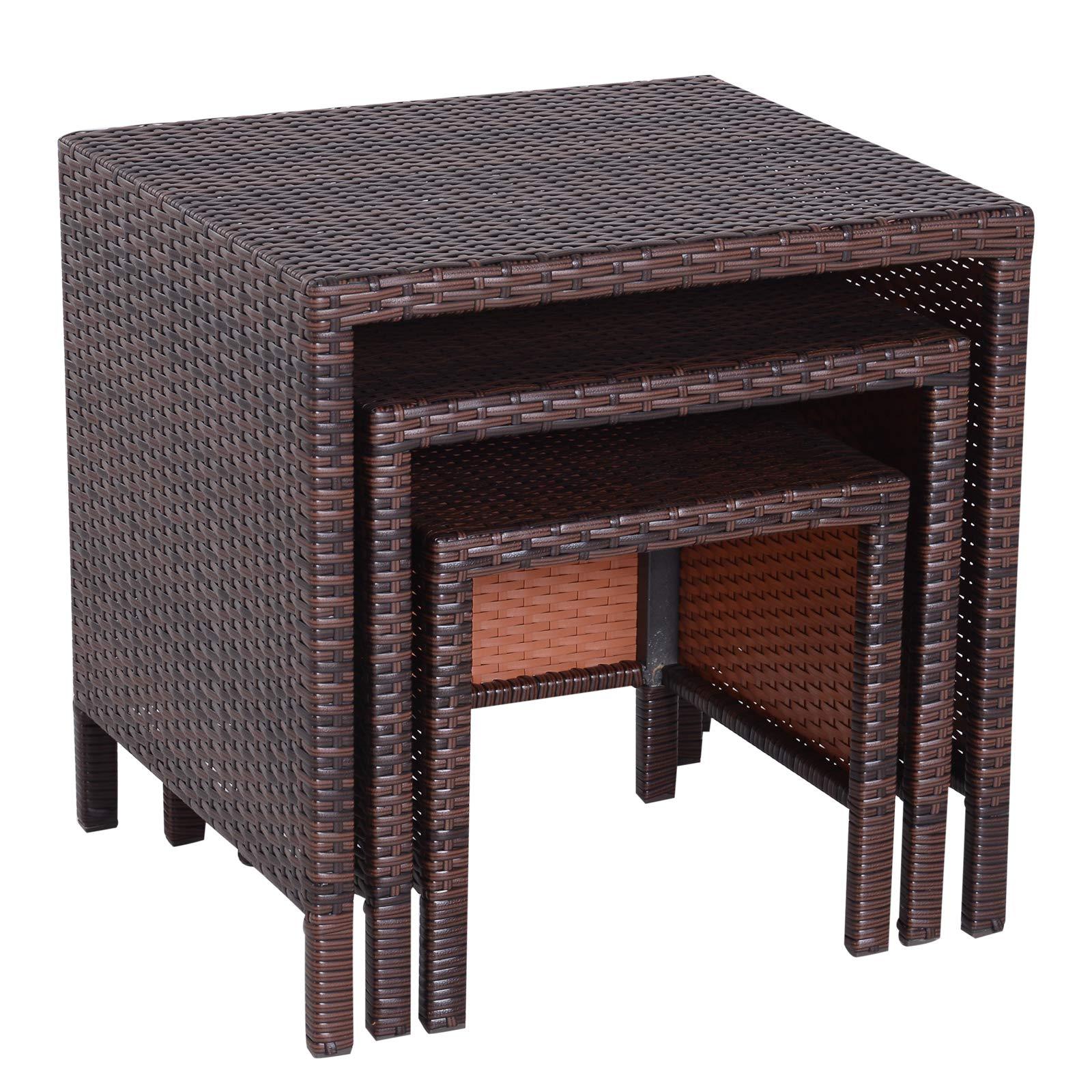 Outsunny - Muebles de jardín de ratán, 3 Piezas, mesas Nido de Patio, Mesa Auxiliar de Mimbre para Exteriores: Amazon.es: Jardín