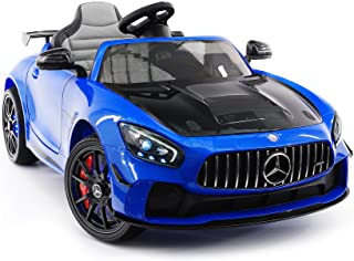 Moderno Kids Mercedes GT 12V Power Children Ride-On Car with R/C Parental Remote + EVA Rubber LED Wheels + Leather Seat + MP4+MP3 Video/Music Player + LED Lights + Rubber Floor Mats (Blue)